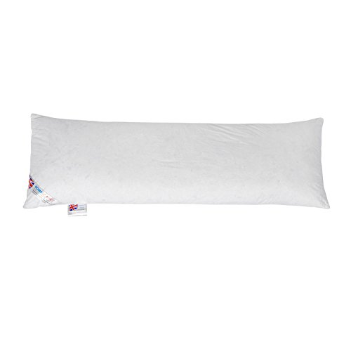 Price comparison product image Homescapes 4'6 Full Body / Bolster / Pregnancy / Maternity Pillow Filled with Premium New White Duck Feathers - Wash at Home Range by Homescapes