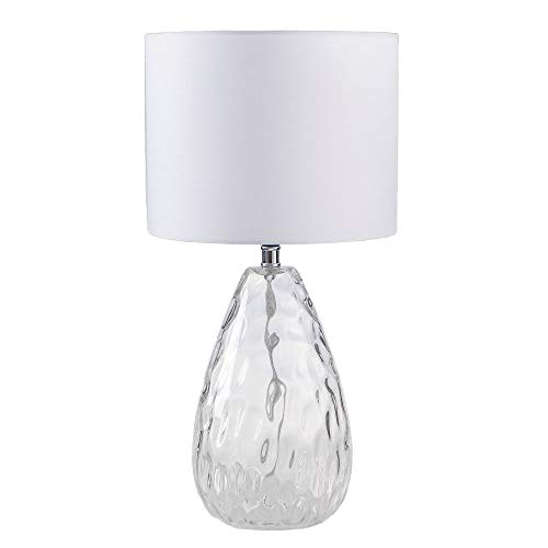 Wtape Modern Clear Glass Base Bedside Table Lamp White for Bedroom, Living Room, Kids Room, College Dorm, Coffee Table, Bookcase by Wtape (Image #7)