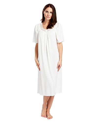Feraud 3883040-10044 Women's Champagne White Cotton Night Gown Loungewear 12 by Feraud (Image #4)