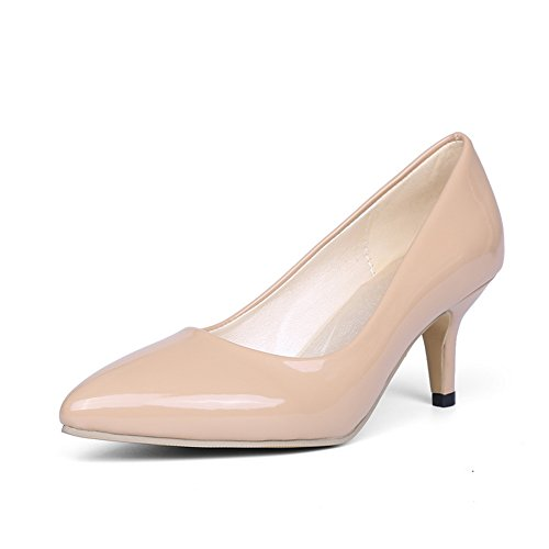 BalaMasa Womens Pointed-Toe Pull-On Slip-Resistant Patent-Leather Pumps-Shoes Apricot bGUh4