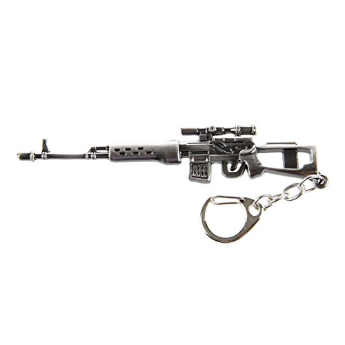 SODIAL(R) Mini Dragunov Sniper Gun Model Pendant Lobster Hook Keychain Gray