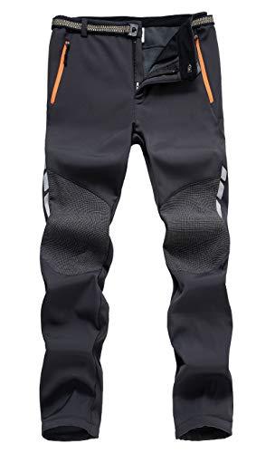 Mens Pants,Outdoor Windproof Water Resistant Softshell Fleece Ski Hiking Pants Grey ()
