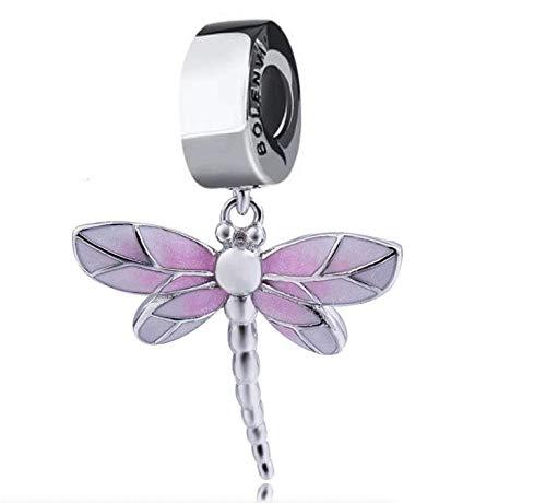 Bolenvi Pretty Pink Dragonfly 925 Sterling Silver Clip-On Dangle Pendant X Charm Bead for Pandora & Similar Charm…