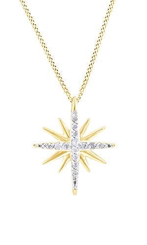 AFFY White Natural Diamond Accents Starburst Pendant Necklace in 14k Yellow Gold Over Sterling Silver (0.2 Ct) ()