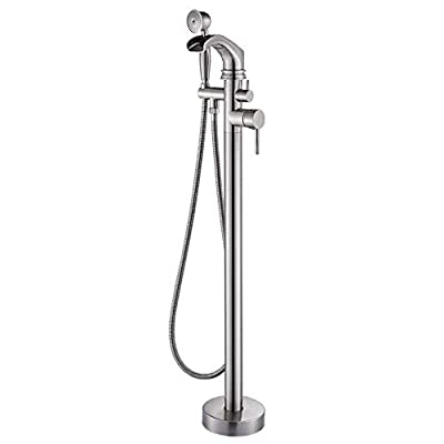Zovajonia Freestanding Bathtub Faucet Tub Filler Brushed Nickel Floor Mount Faucets Brass Single Handle with Hand Shower