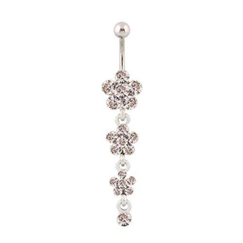 Lovely Steel Rhinestones Plum Blossom Chain Dangle Belly Ring Navel Ring, White Dangling Belly Chain