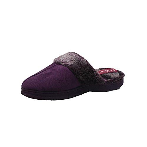 Las señoras suedette zapatillas espaldas abiertas con brazalete de piel Púrpura