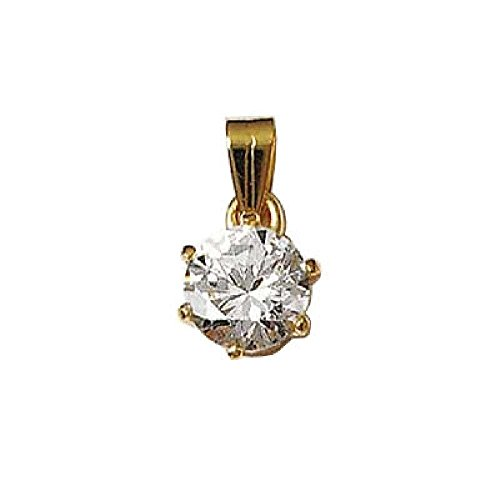 So Chic Jewels - 18k Gold Plated Clear Cubic Zirconia Medallion Pendant