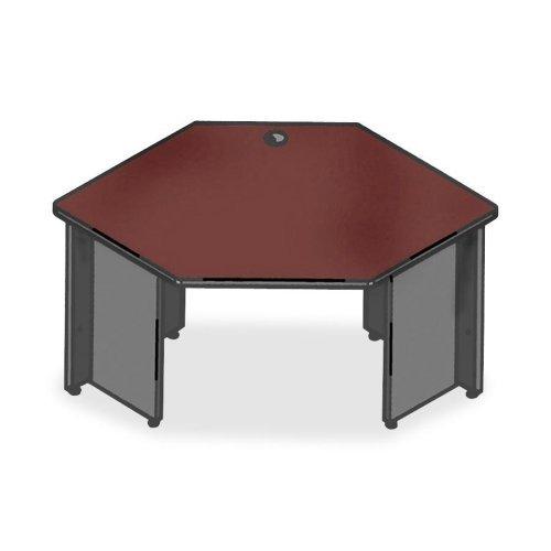 Lorell Corner - Lorell Corner Desk, 42 by 24 by 29-Inch, Mahogany/Charcoal