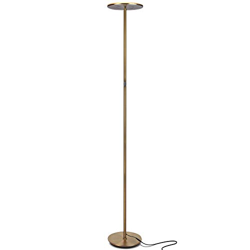 Brass Torchiere Lamp Antique (Brightech Sky LED Torchiere Super Bright Floor Lamp - Tall Standing Modern Pole Light for Living Rooms & Offices - Dimmable Uplight for Reading Books in Your Bedroom etc - Antique Brass)