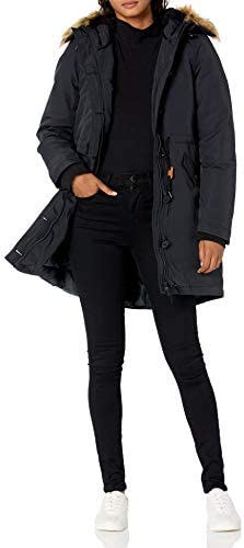 Amazon Essentials Women's Water Resistant Long Sleeve Longer Length Parka with Faux Fur Trim Hood