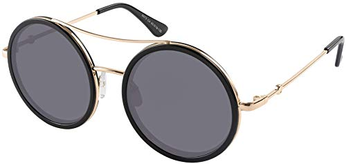 Round Double Bridge Unisex Black and gold frame with grey lens
