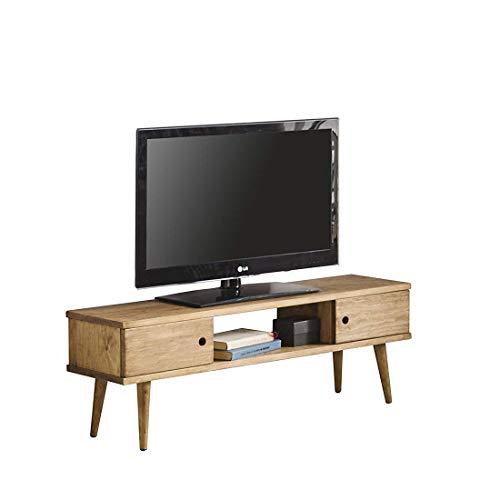 Hogar24-Mesa television, Mueble TV salon diseno Vintage, 2 Puertas y Estante, Madera Maciza Natural, fabricacion Artesanal. 110 cm x 40 cm x 30 cm