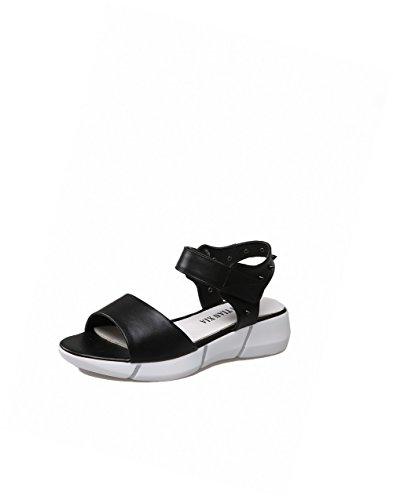 AllhqFashion Mujeres Puntera Abierta Mini Tacón Sólido Velcro Sandalia Negro