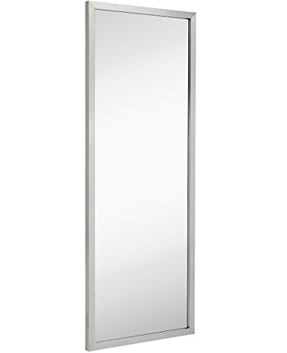 Commercial Restroom Full Length Wall Mirror | Contemporary Industrial Strength | Brushed Metal Silver Rectangle Mirrored Glass | Vanity, Bedroom or Restroom Horizontal & Vertical (18