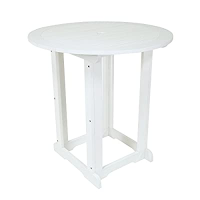 Shine Company 7678WT Sunrise Outdoor Counter Height Table, White - Composed of recyclable, High-Density resin designed for home or commercial use Durable construction with wood-grain textures resembling real wood Usable in all weather conditions, with a UV-protected, scratch resistant surface that will not peel, chip, warp, or splinter - patio-tables, patio-furniture, patio - 31X3Y2q%2BnUL. SS400  -