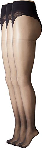 HUE Women's So Sexy French Lace Sheer Control Top Pantyhose (Pack of 3), black 2