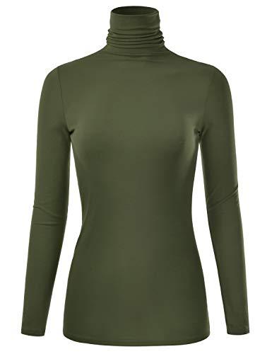 (EIMIN Women's Long Sleeve Turtleneck Lightweight Pullover Slim Shirt Top Olive S)