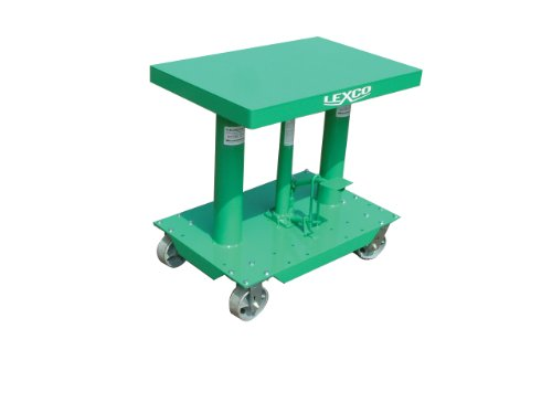"Wesco Industrial Products 492204 Steel Foot Operated/Electric Hydraulic Lift Table, 2000 Pound Capacity, 30"" Length x 20"" Width Tabletop, 48"" Height"