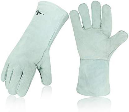 Vgo 1-Pair Cow Split Leather Welding Gloves For Oven Grill Fireplace Stove Pot Holder Tig Welder Mig BBQ (13.5in White CB6501)