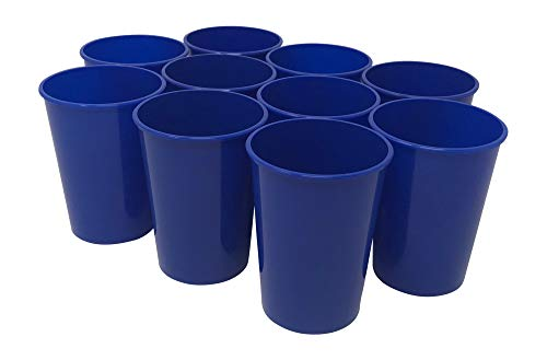 CSBD 10 Pack Blank 12 oz Plastic Kids Cups Bulk Tumblers - Reusable or Disposable, Made In USA, Great For Customization, Monograms, Marketing, DIY Projects, Weddings, Parties, Events (10, Blue) ()