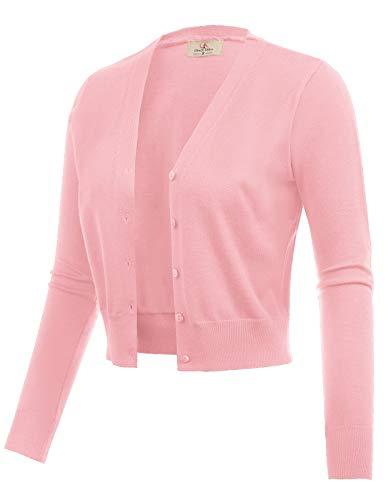 GRACE KARIN Women Cropped Open Front Bolero Shrug Jacket Pink Size S CL2000-5