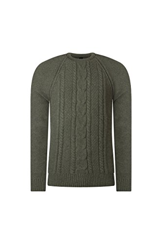 (Great and British Knitwear Mens Made in Scotland 100% Lambswool Cable Knit Crew Neck)