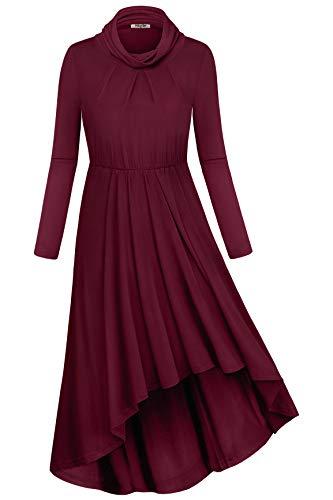 Hibelle Swing Dress for Women, Casual Daily Wear Long Sleeve Cowl Neck Pleated Elastic Waist A-line Flowy Irregular Hem Knee Length Athleisure Tunic Dresses Wine Red Large