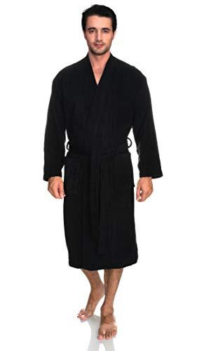 TowelSelections Men's Robe, Turkish Cotton Terry Kimono Bathrobe X-Large/XX-Large Phantom Black (Bathrobes Monogram)