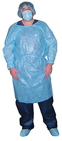 Dukal 301BL Isolation Gown, Non-Sterile, Blue (10 Bags of 5) (Pack of 50)