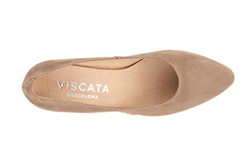 VISCATA Roses Suede 2.75-inch Elegant Style, Slip-on Wedge Pump, Espadrilles Heel Made in Spain Mocha