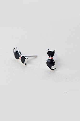 Generic 925 sterling silver earrings Japan and South Korea minimalist black women girls lady kitten animal cute earrings silver earrings women girls lady accessories