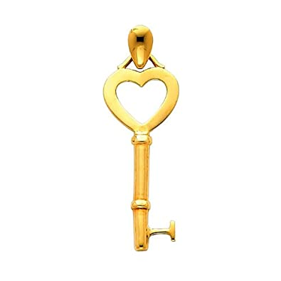 14k Yellow Gold Key to My Heart Pendant with 1.2mm Cable Chain Necklace
