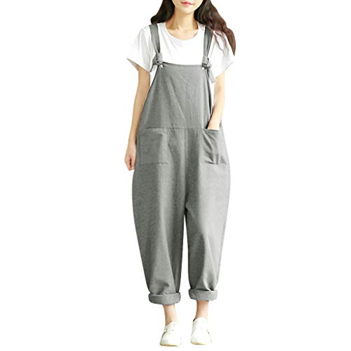 Tantisy ♣↭♣ Women's Baggy Overalls Jumpsuits Casual Wide Leg Bib Pants Plus Size Rompers Cotton Linen Suspender Rompers Gray