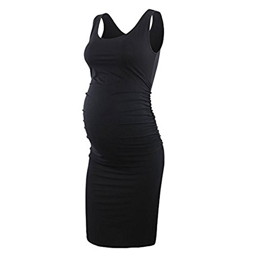 Nat Terry Women Maternity Dresses, Summer Red Casual Ruched Bodycon Sleeveless Wrap ()