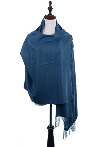 BYOS Versatile Oversized Soft Cashmere Shawl Scarf Travel Wrap Blanket Stole W/ Tassels, Many Colors (Merino Wrap)