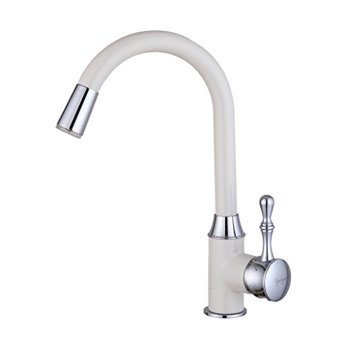 Eyekepper White Painting Kitchen Sink Faucet LED Light Wet Sink Bar Faucet
