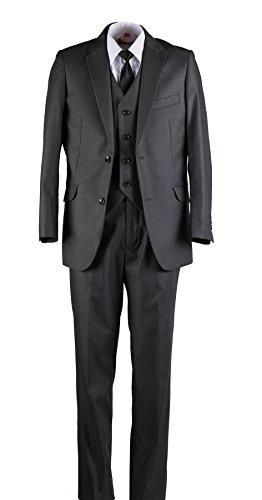 Boys Slim Fit Suit Medium Grey With Black Dress Tie (6) - Holy Communion Suits