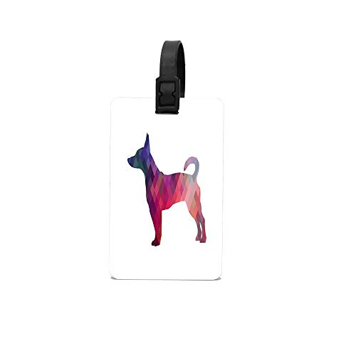 CuteToiletLidABC Rat Terrier Dog Colorful Geometric Pattern Silhouette - Pink Custom PVC Luggage Baggage Suitcase Tag ID Label for Travel