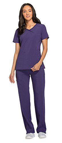 Cherokee Infinity Women's Mock Wrap Scrub Top 2625A & Low Rise Drawstring Scrub Pants 1123A Scrubs Set (Certainty Antimicrobial) (Grape - Medium/Large Petite)