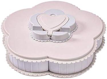 SHUUY 多色プラスチック製のフルーツ皿、フルーツトレイクリエイティブスナックトレイファイブグリッドフルーツプレートファミリーキャンディストレージトレイパーティーを回転キャンディ料理 (Color : Pink)