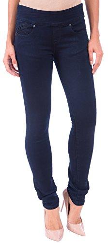 Regular Rise Bootcut Legging - Lola Jeans Women's Catherine Midrise Pull on Stretch Denim Straight Leg Jeans (Over Dye Blue, Size W33/USA W14)