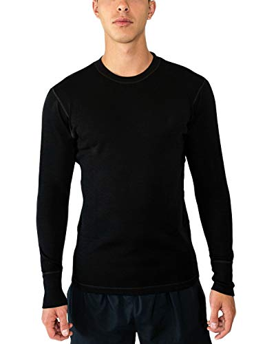 (Woolx Explorer - Men's Midweight Merino Wool Baselayer Top - 100% Merino Wool Crew, Medium, Black)