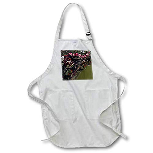 3dRose Stamp City - Holiday - Close up Photograph of Holiday Pine, pinecones, and Berries Decoration - Medium Length Apron with Pouch Pockets 22w x 24l (apr_302850_2) ()