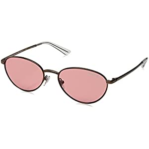 VOGUE Women's Metal Woman Oval Sunglasses, Copper Light Brown, 53 mm