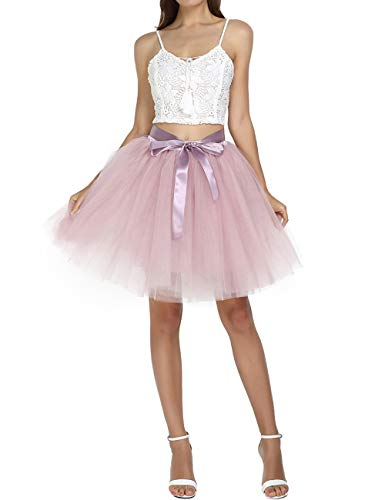 (Women's Above Knee High Waist Tutu Tulle Skirt Adult Dance Petticoat for Bridal Shower Ball Gown, Dusty Pink, Free Size)