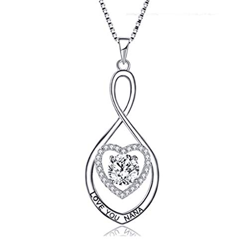 Infinity Cross Pendant Necklace,Haluoo Women Love You Nana S925 Stearling Silver Heart Rhinestone Necklace Ladies Diamond Chain Valentine's Day Aniversary Wedding Engagement Jewelry Necklace (Silver)