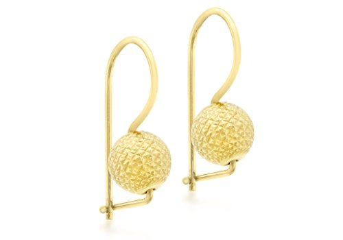 Jewellery World Bague en or jaune 9carats Diamant coupe Boule-Boucles d'Oreilles Pendantes Femme -