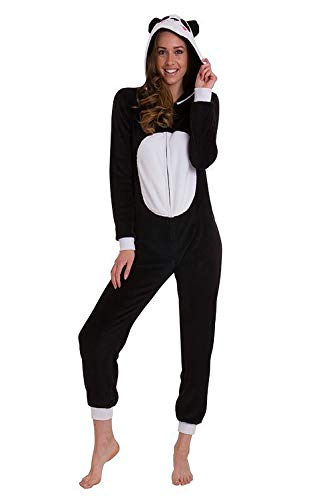 Donna Weiß 3D Panda Schwarz Con Tuta Animal Loungeable novità Cappuccio 88T6rOq