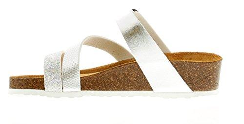 Adela Argent compensé en 9 UK Jack 3 Cuir Femmes Argent Sandales Country Tailles 1qX8x5gw